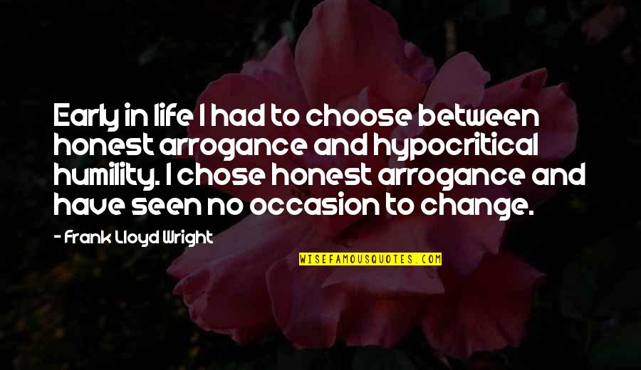 Change Life Quotes By Frank Lloyd Wright: Early in life I had to choose between