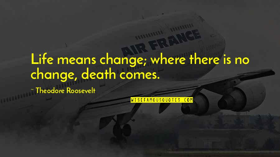 Change Life Quotes By Theodore Roosevelt: Life means change; where there is no change,