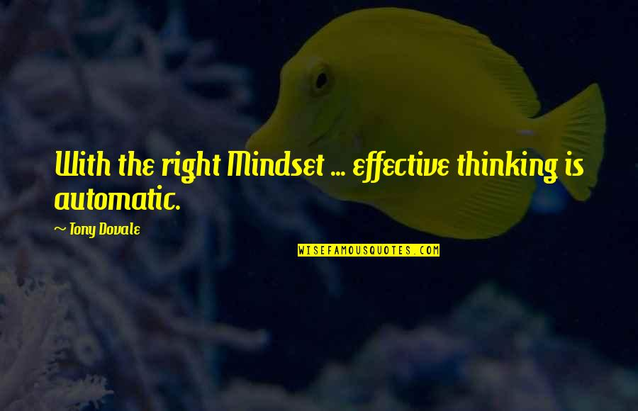 Change Mindset Quotes By Tony Dovale: With the right Mindset ... effective thinking is