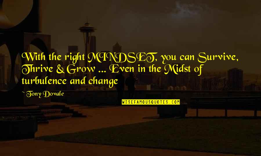 Change Mindset Quotes By Tony Dovale: With the right MINDSET, you can Survive, Thrive