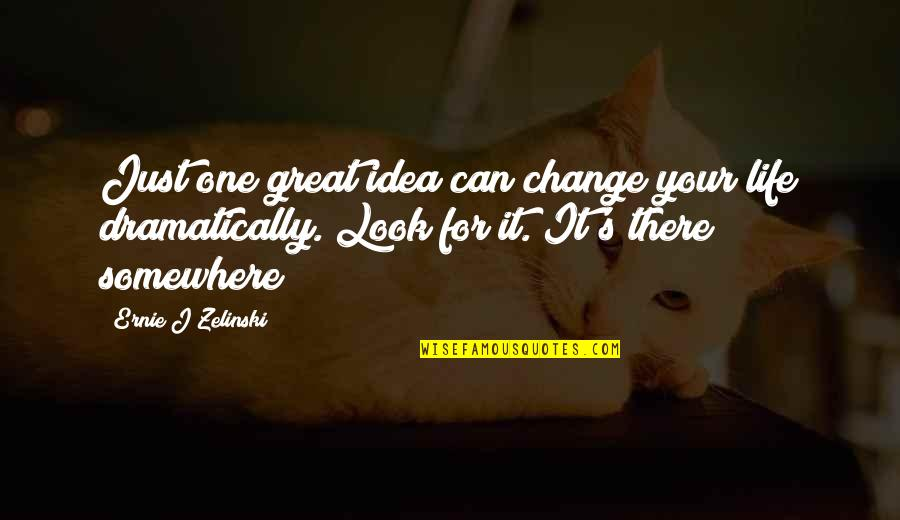 Change My Look Quotes By Ernie J Zelinski: Just one great idea can change your life