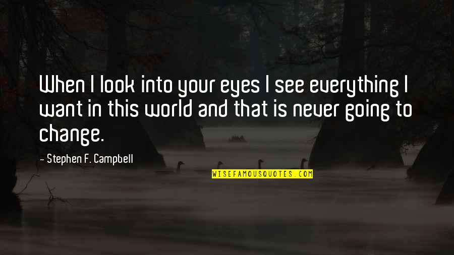 Change My Look Quotes By Stephen F. Campbell: When I look into your eyes I see