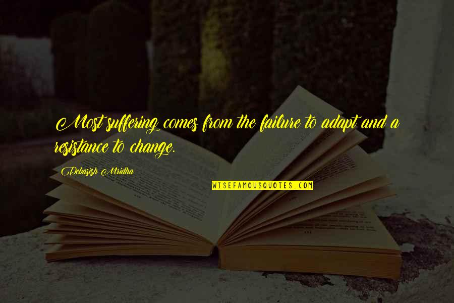 Change Philosophy Quotes By Debasish Mridha: Most suffering comes from the failure to adapt