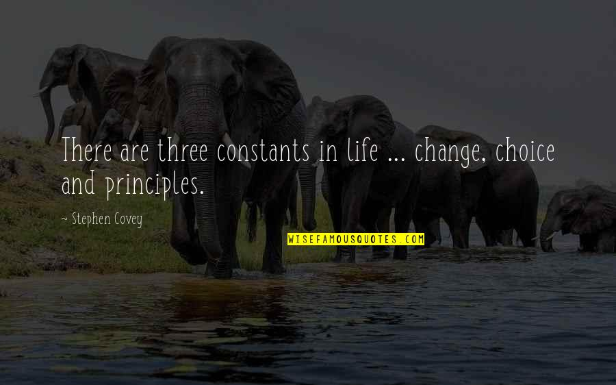 Change Stephen Covey Quotes By Stephen Covey: There are three constants in life ... change,