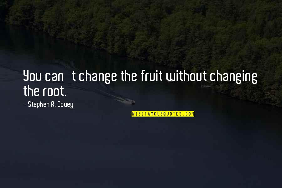 Change Your Paradigm Quotes By Stephen R. Covey: You can't change the fruit without changing the