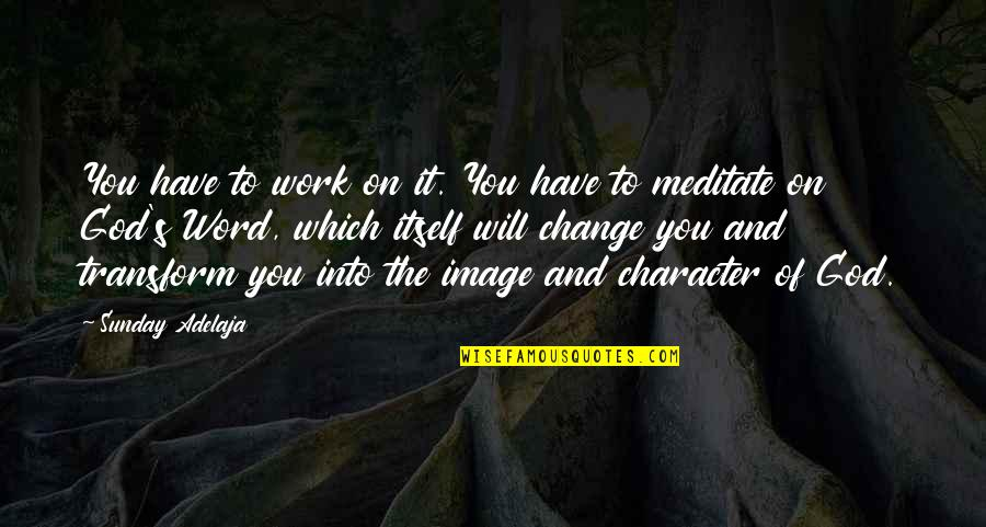 Character Of God Quotes By Sunday Adelaja: You have to work on it. You have