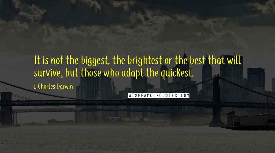Charles Darwin quotes: It is not the biggest, the brightest or the best that will survive, but those who adapt the quickest.