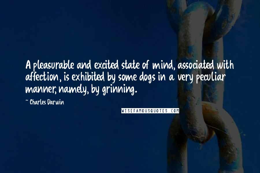 Charles Darwin quotes: A pleasurable and excited state of mind, associated with affection, is exhibited by some dogs in a very peculiar manner, namely, by grinning.