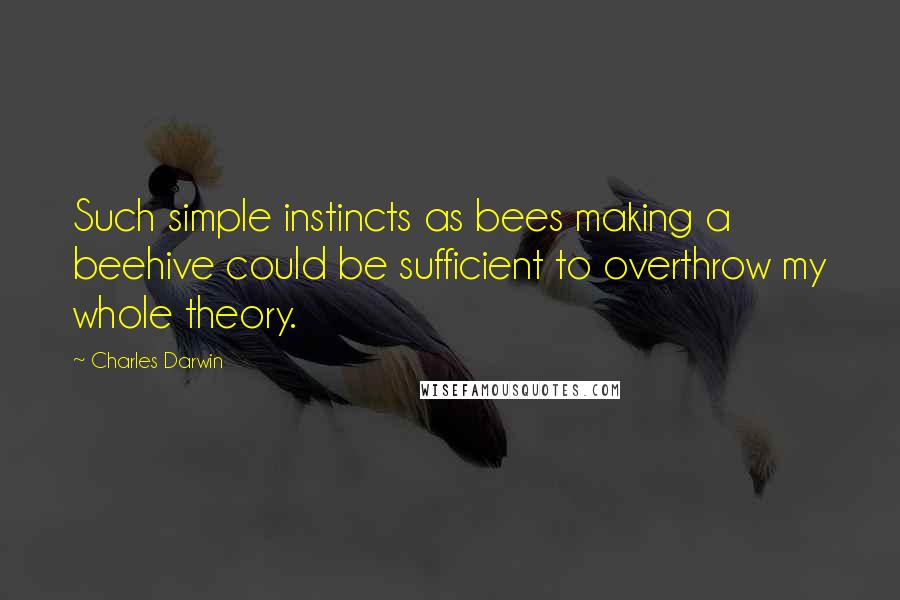 Charles Darwin quotes: Such simple instincts as bees making a beehive could be sufficient to overthrow my whole theory.