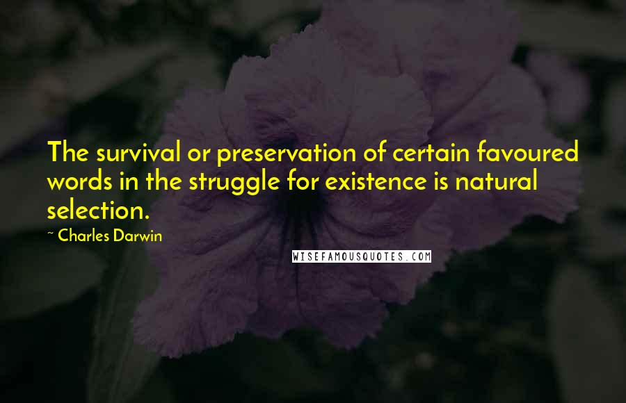 Charles Darwin quotes: The survival or preservation of certain favoured words in the struggle for existence is natural selection.