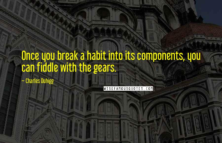 Charles Duhigg quotes: Once you break a habit into its components, you can fiddle with the gears.