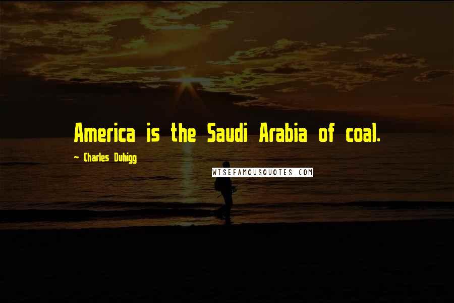 Charles Duhigg quotes: America is the Saudi Arabia of coal.