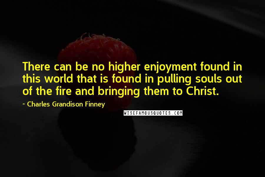 Charles Grandison Finney quotes: There can be no higher enjoyment found in this world that is found in pulling souls out of the fire and bringing them to Christ.