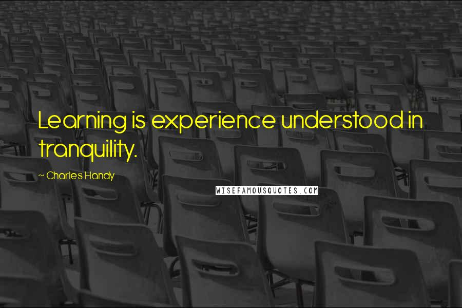Charles Handy quotes: Learning is experience understood in tranquility.