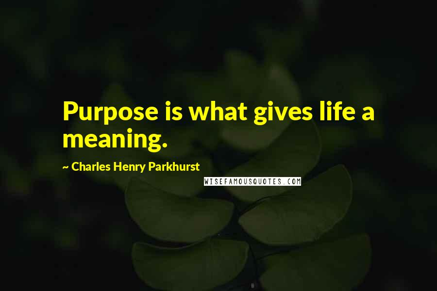 Charles Henry Parkhurst quotes: Purpose is what gives life a meaning.
