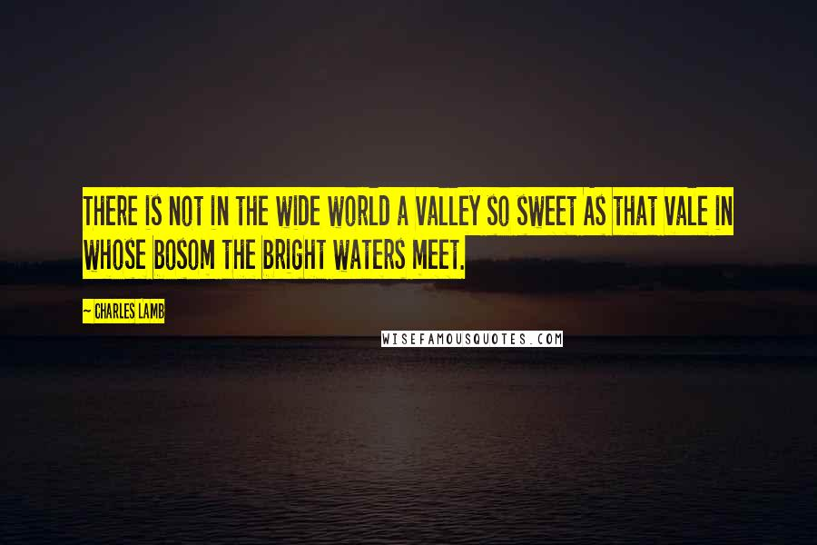 Charles Lamb quotes: There is not in the wide world a valley so sweet As that vale in whose bosom the bright waters meet.