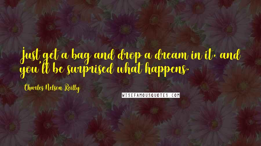 Charles Nelson Reilly quotes: Just get a bag and drop a dream in it, and you'll be surprised what happens.