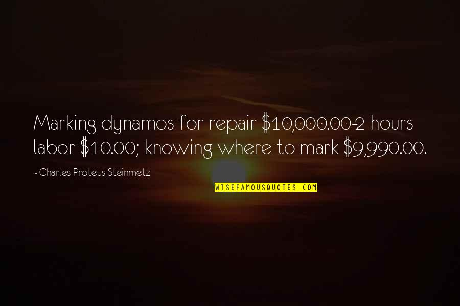 Charles P. Steinmetz Quotes By Charles Proteus Steinmetz: Marking dynamos for repair $10,000.00-2 hours labor $10.00;