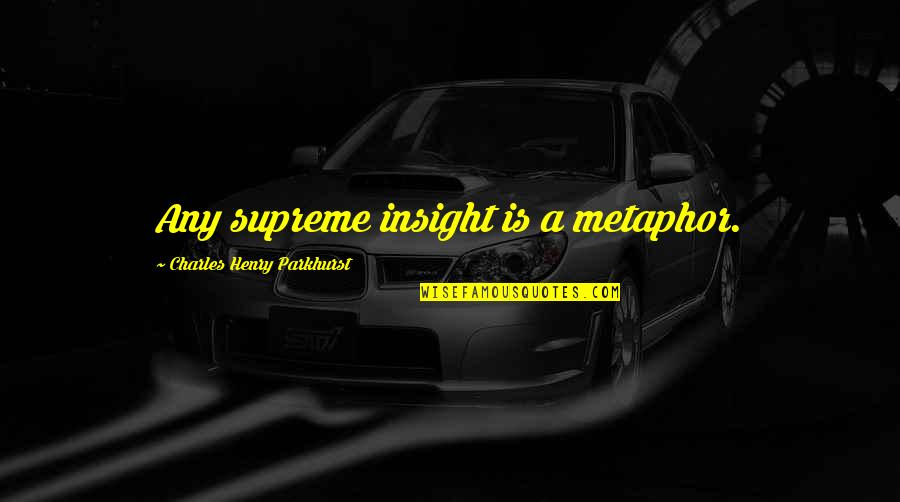 Charles Parkhurst Quotes By Charles Henry Parkhurst: Any supreme insight is a metaphor.