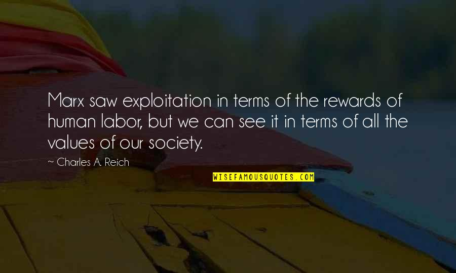 Charles Reich Quotes By Charles A. Reich: Marx saw exploitation in terms of the rewards