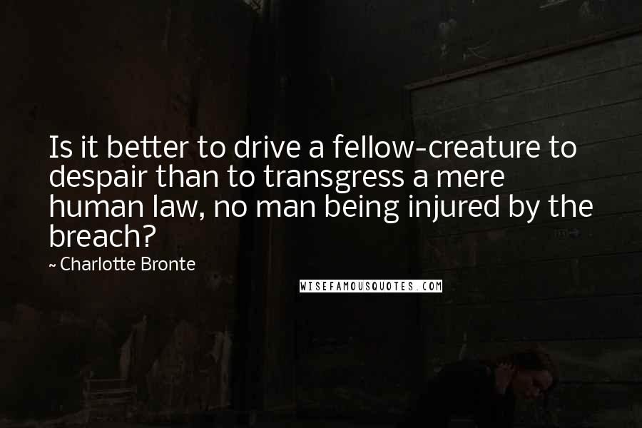 Charlotte Bronte quotes: Is it better to drive a fellow-creature to despair than to transgress a mere human law, no man being injured by the breach?