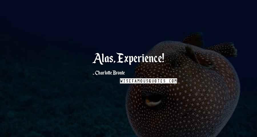 Charlotte Bronte quotes: Alas, Experience!