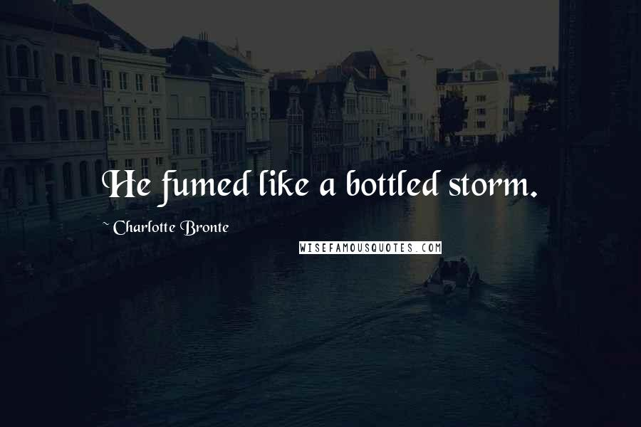 Charlotte Bronte quotes: He fumed like a bottled storm.