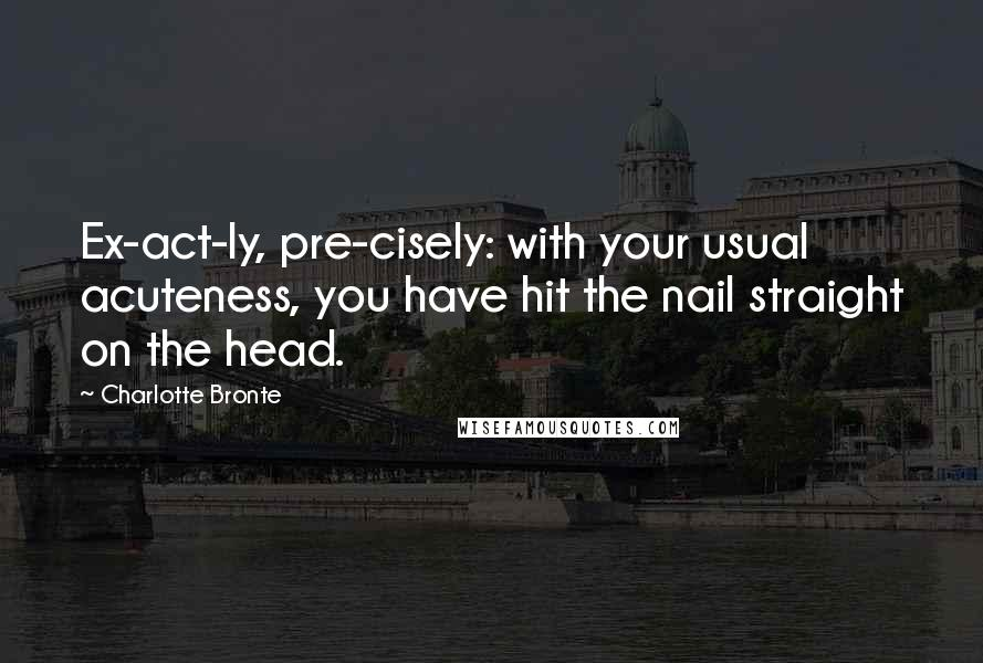 Charlotte Bronte quotes: Ex-act-ly, pre-cisely: with your usual acuteness, you have hit the nail straight on the head.