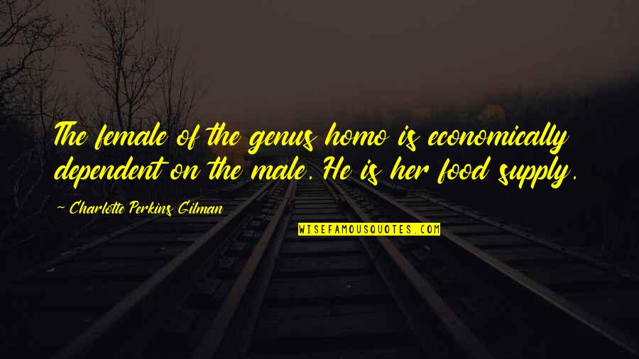 Charlotte Perkins Gilman Quotes By Charlotte Perkins Gilman: The female of the genus homo is economically