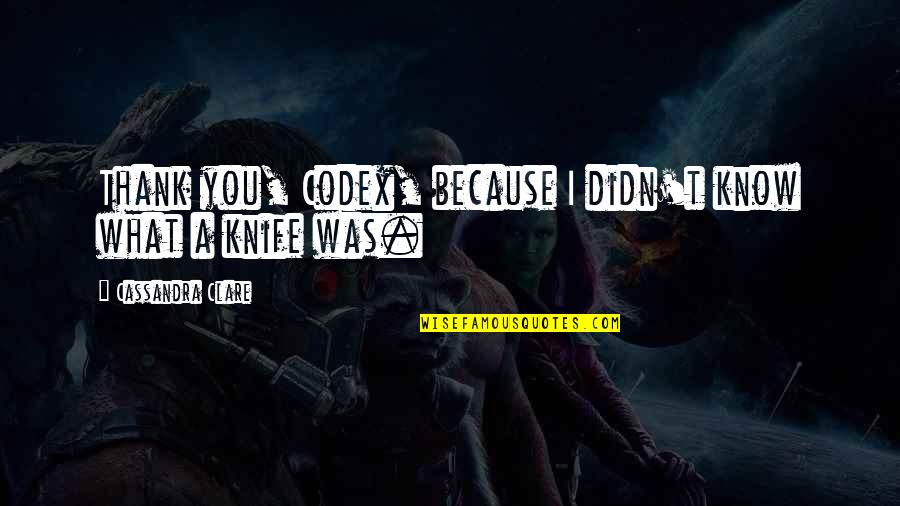 Chase Bank Stock Quotes By Cassandra Clare: Thank you, Codex, because I didn't know what