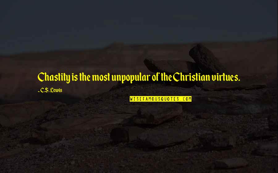 Chastity Virtue Quotes By C.S. Lewis: Chastity is the most unpopular of the Christian