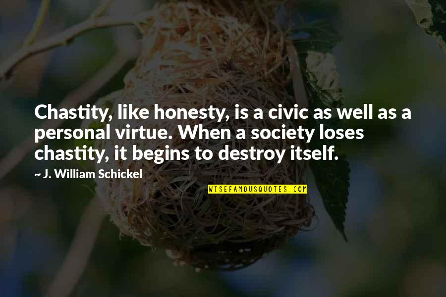 Chastity Virtue Quotes By J. William Schickel: Chastity, like honesty, is a civic as well