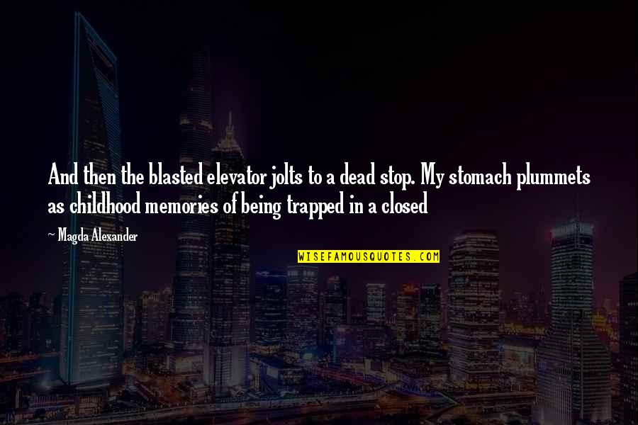 Chastity Virtue Quotes By Magda Alexander: And then the blasted elevator jolts to a