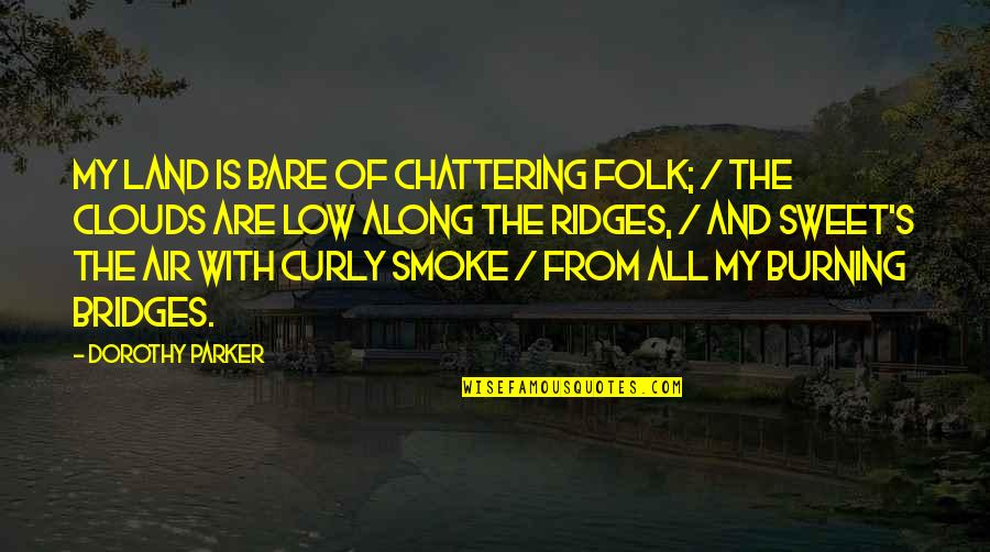 Chattering Quotes By Dorothy Parker: My land is bare of chattering folk; /
