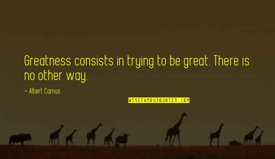Chatting With Old Friends Quotes By Albert Camus: Greatness consists in trying to be great. There