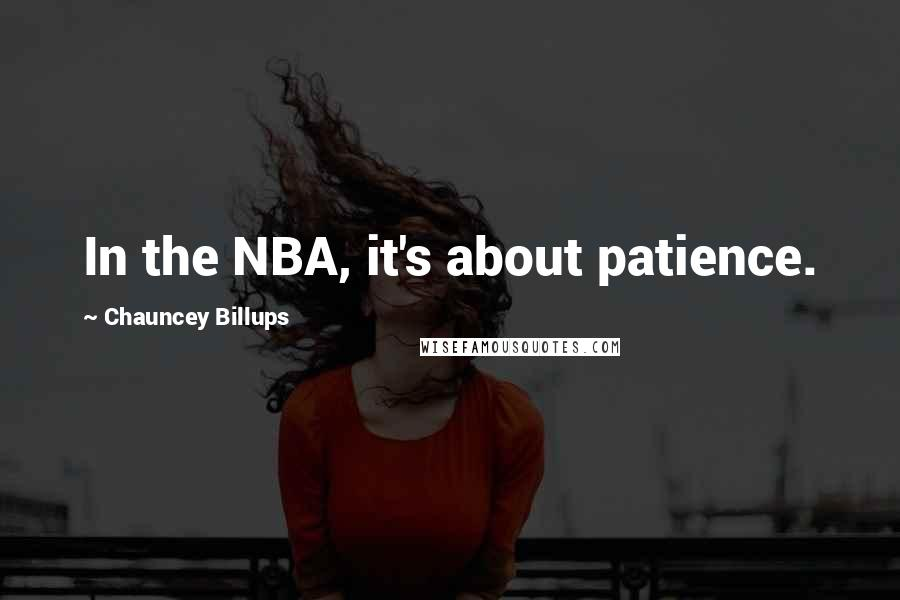 Chauncey Billups quotes: In the NBA, it's about patience.