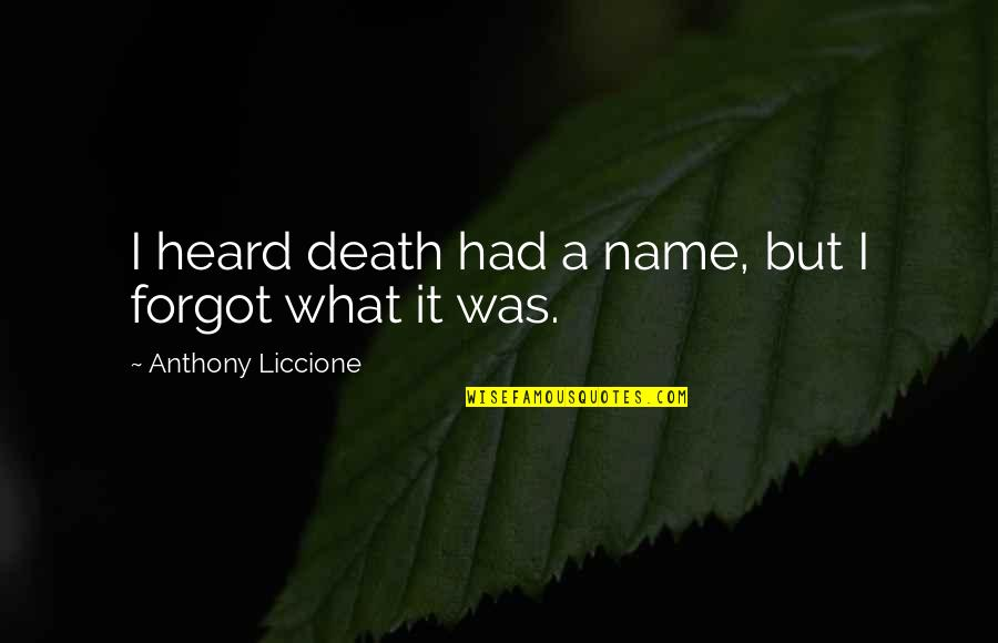 Chauvelin Book Quotes By Anthony Liccione: I heard death had a name, but I