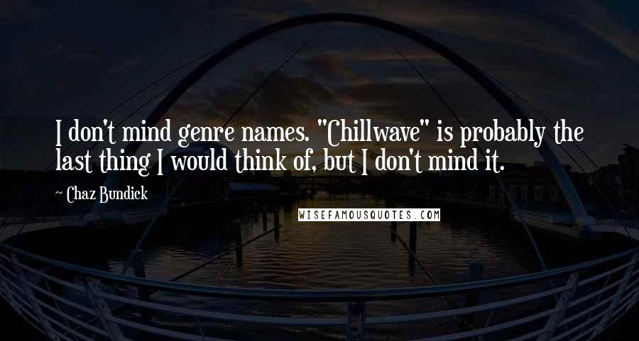 "Chaz Bundick quotes: I don't mind genre names. ""Chillwave"" is probably the last thing I would think of, but I don't mind it."