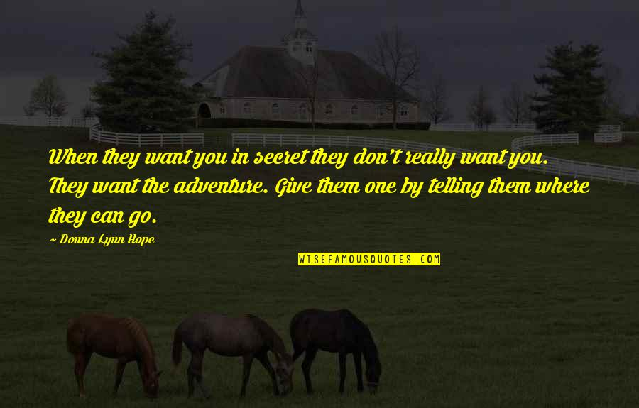 Cheaters Quotes By Donna Lynn Hope: When they want you in secret they don't