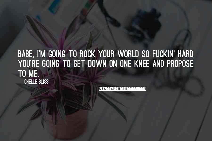 Chelle Bliss quotes: Babe, I'm going to rock your world so fuckin' hard you're going to get down on one knee and propose to me.