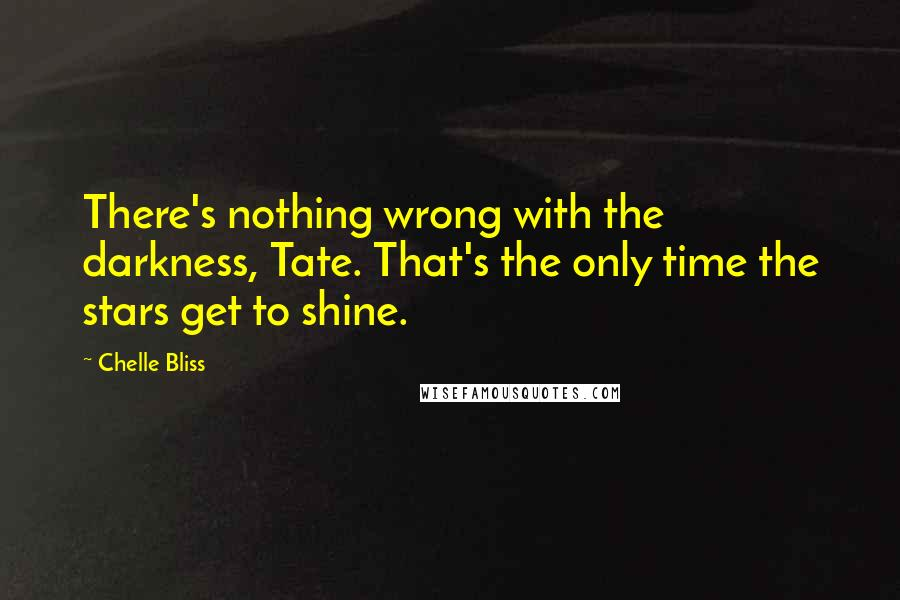 Chelle Bliss quotes: There's nothing wrong with the darkness, Tate. That's the only time the stars get to shine.