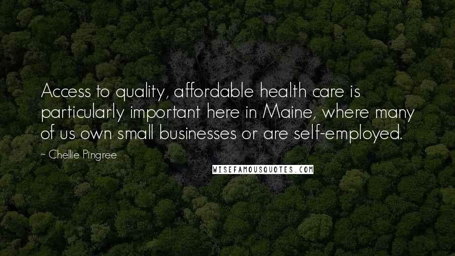 Chellie Pingree quotes: Access to quality, affordable health care is particularly important here in Maine, where many of us own small businesses or are self-employed.
