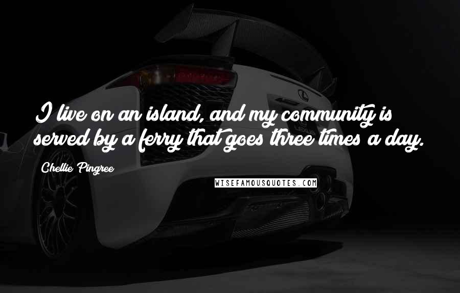 Chellie Pingree quotes: I live on an island, and my community is served by a ferry that goes three times a day.