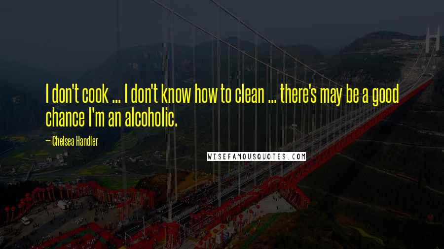 Chelsea Handler quotes: I don't cook ... I don't know how to clean ... there's may be a good chance I'm an alcoholic.