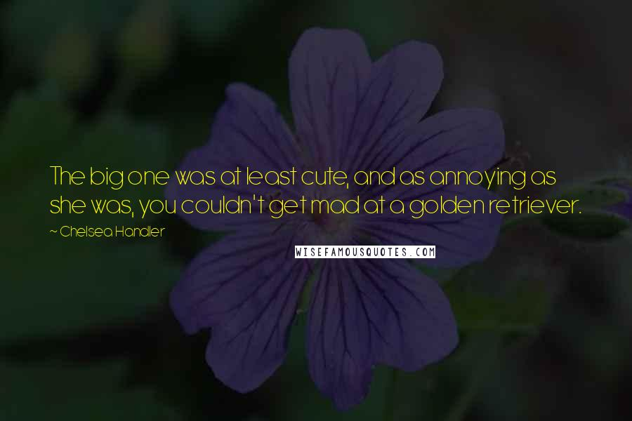Chelsea Handler quotes: The big one was at least cute, and as annoying as she was, you couldn't get mad at a golden retriever.