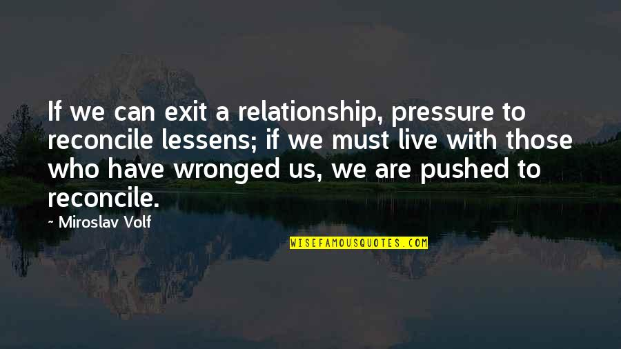 Chelsia Hart Quotes By Miroslav Volf: If we can exit a relationship, pressure to