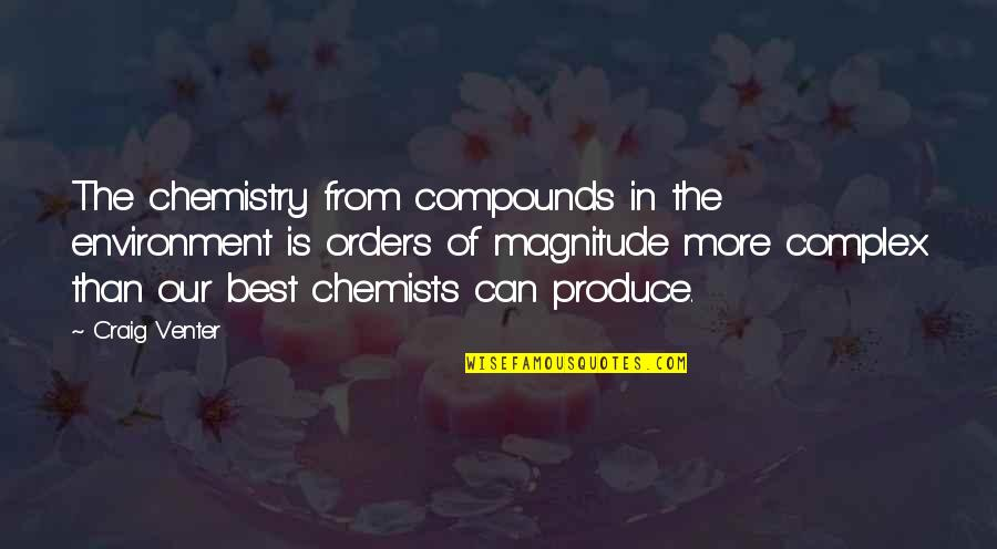 Chemists Quotes By Craig Venter: The chemistry from compounds in the environment is
