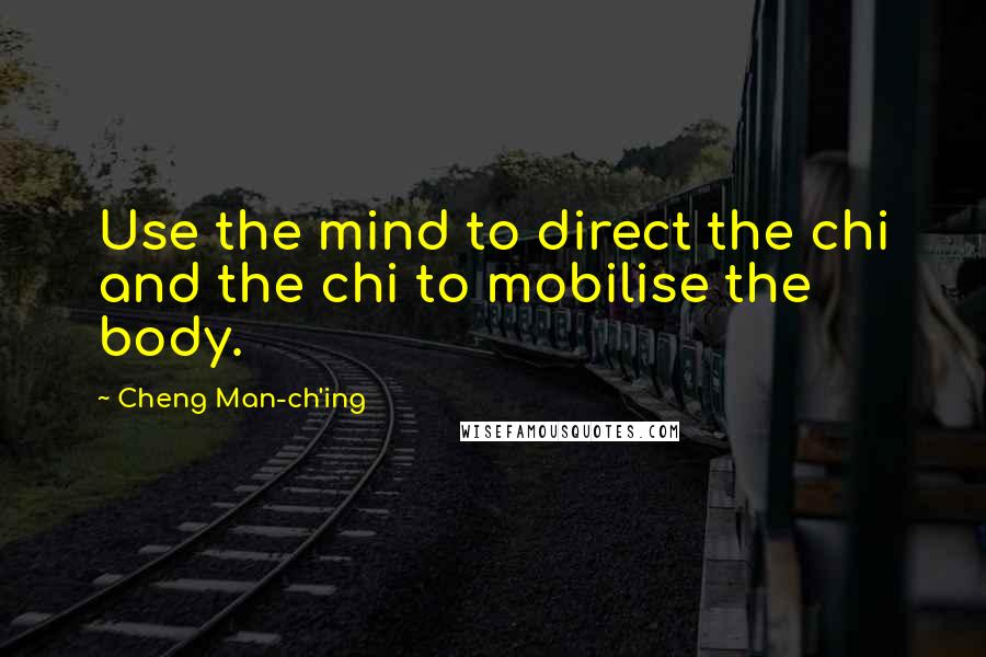 Cheng Man-ch'ing quotes: Use the mind to direct the chi and the chi to mobilise the body.