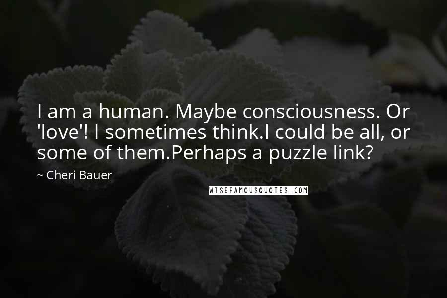 Cheri Bauer quotes: I am a human. Maybe consciousness. Or 'love'! I sometimes think.I could be all, or some of them.Perhaps a puzzle link?