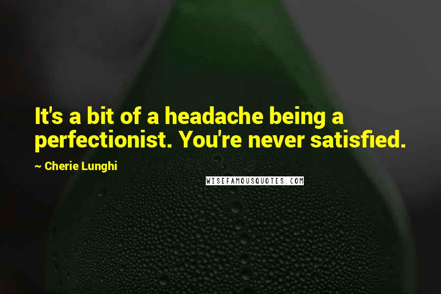 Cherie Lunghi quotes: It's a bit of a headache being a perfectionist. You're never satisfied.